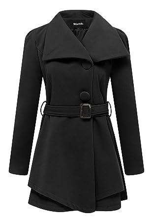 Amazon.com: Wantdo Women's Wool Wrap Swing Coat with Belt: Clothing