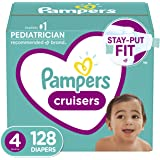 Diapers Size 4, Pampers Cruisers Disposable Baby Diapers, 128 Count, Huge Pack (Packaging May Vary)