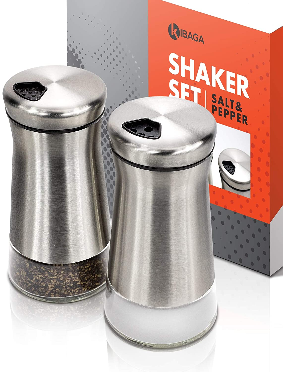 Elegant Salt and Pepper Shakers With Adjustable Pour Holes Gorgeous Stainless Steel Salt and Pepper Dispenser Set Kosher Or Himalayan Salt Perfect For Your Sea