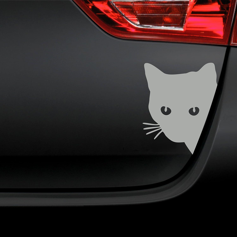 Folistick Katzenkopf Aufkleber Katze Autoaufkleber Silber Auto