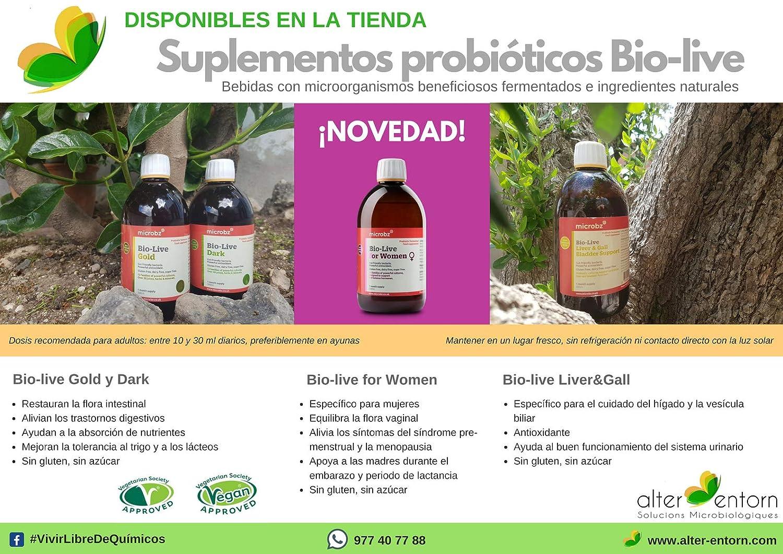 Suplemento probiótico líquido BIO-LIVE DARK. Bebida de fermentación a partir de ingredientes naturales para restaurar la salud digestiva y fortalecer el ...