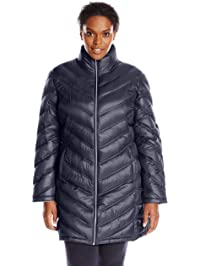 e51b3b49498 Calvin Klein Women s Plus-Size Chevron-Quilted Packable Down Coat