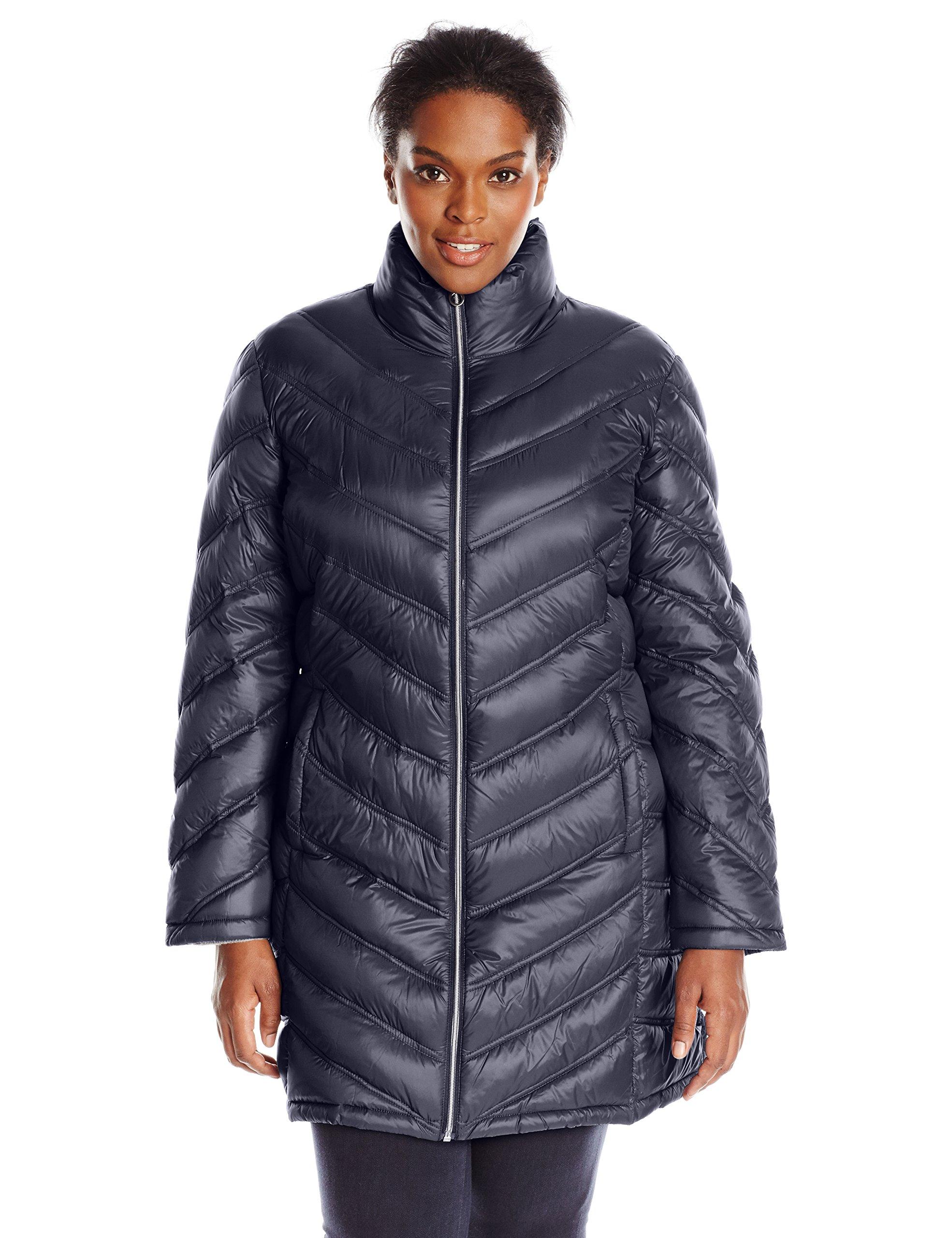 Calvin Klein Women's Plus-Size Chevron-Quilted Packable Down Coat Plus, Navy, 3X