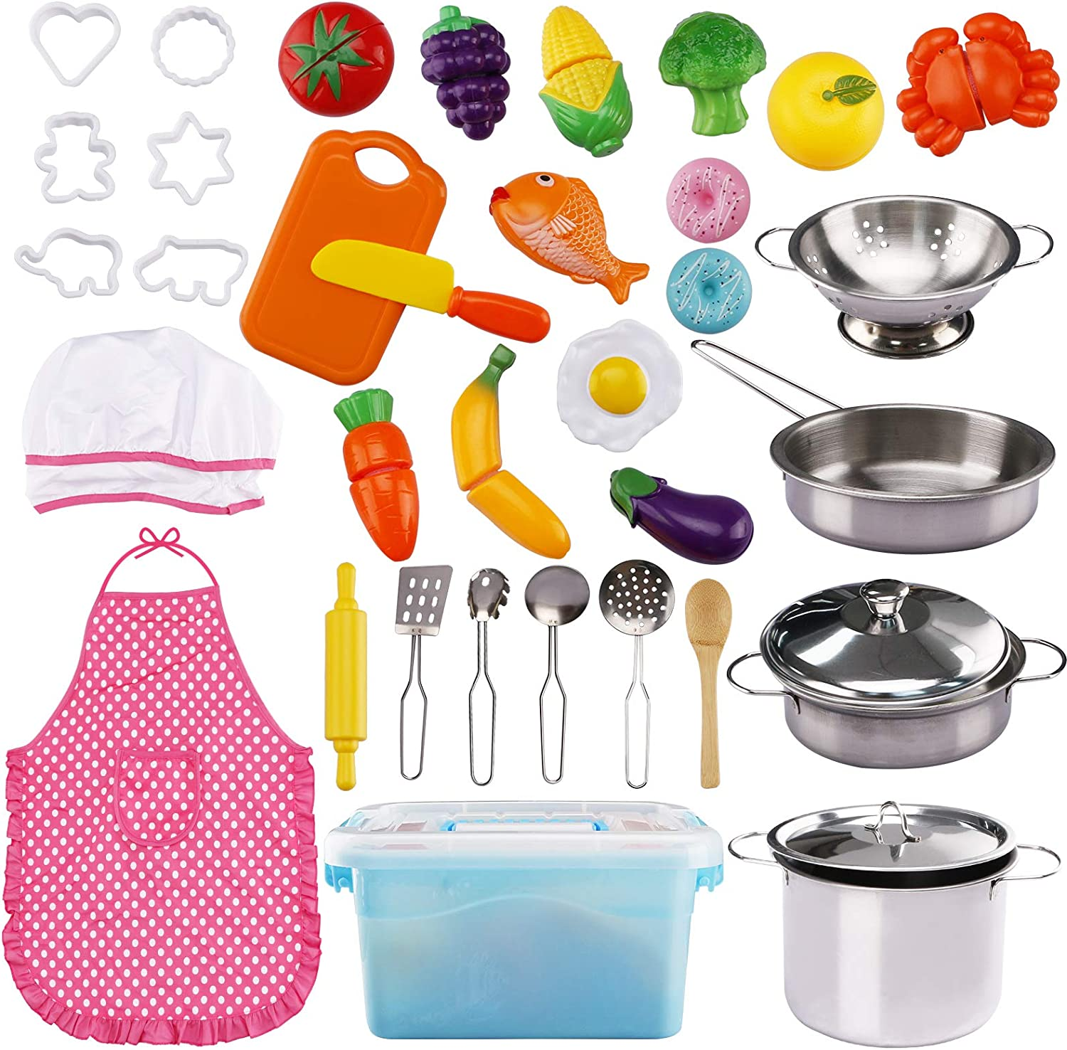 37 Pieces Pretend Play Toy Kitchen Cooking & Baking with Stainless Steel Cookware Pots & Pans Set, Cooking Utensils Cookie Cutters Cutting Vegetables Apron & Chef Hat for Boys Girls Over 12 Years Old