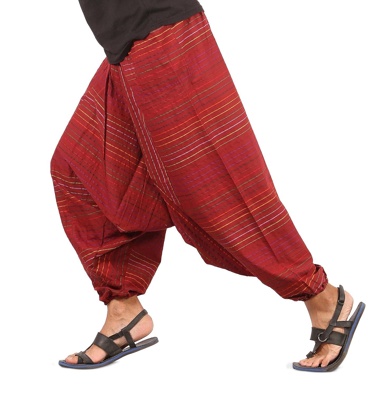 The Harem Studio Hombre Mujer Pantalones Harem Unisex Bombachos Ligeros, Hippies, de Algodón, Casuales, Boho, Hechos a Mano para Yoga - Estilo Stripes