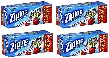 Ziploc Storage Bag, Quart Value Pack-25 ct (Pack of 4) 100 Total