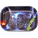 Trippy Galaxy Metal Rolling Tray, Lightweight and Smooth Small Rolling Tray, Durable Hippie Outer Space Metal Tray, Used for