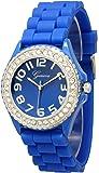 Geneva Silicone Watch Unisex Crystals Rhinestones Wrist Watch Medium Size Dial
