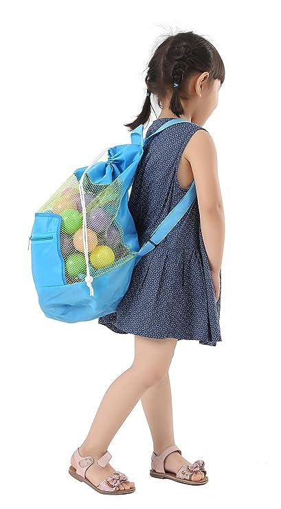 bc5c827109 WODISON Kids Beach Drawstring Mesh Backpack Tote Toys Storage Net Bag Swim  Blue