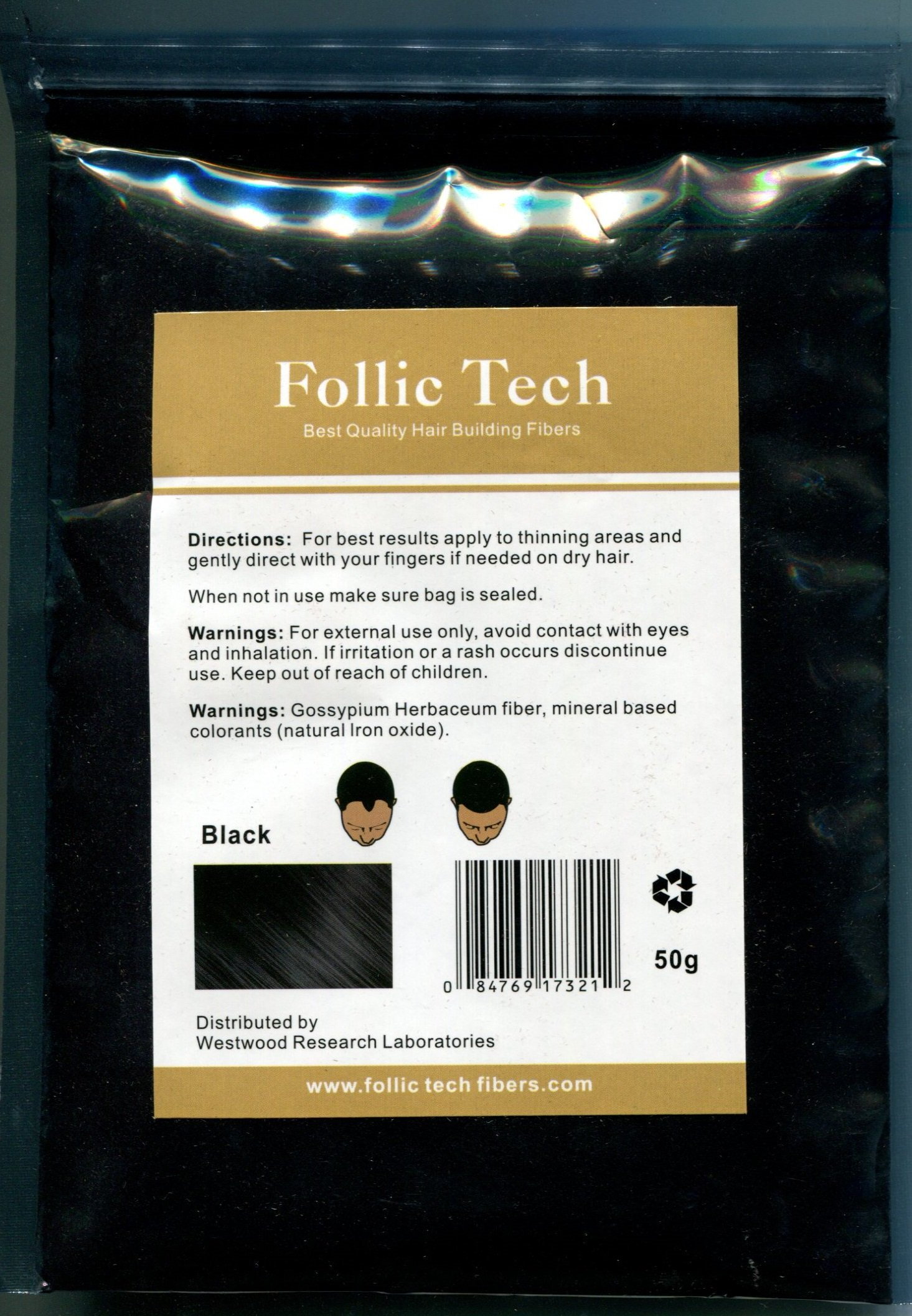 Follic Tech Hair Building Fibers 475 Grams Not 450 Highest Grade Refill That You Can Use for Your Bottles from Competitors Like Toppik, Xfusion, Miracle Hair (Black) by Follic Tech