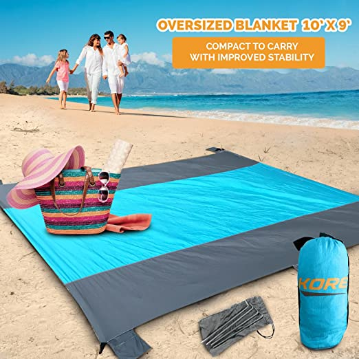 Sand Free Beach Blanket,Oversized Sand Proof Beach Mat,Portable Waterproof Picnic Blanket with 4 Metal Stakes,Lightweight Camping Blanket,Nylon Compact Towel For Swimming Travel Accessory 210cmx200cm