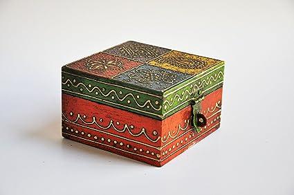 Pintada a mano cuadrada de madera multicolor caja de joyería, caja de recuerdos, caja