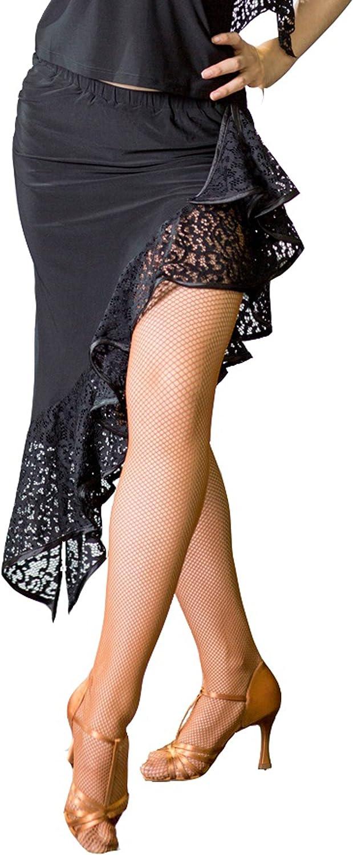 JS CHOW Ladies Purple Black Latin Salsa Tango ChaCha Asymmetric Practice Dance Wear Skirt