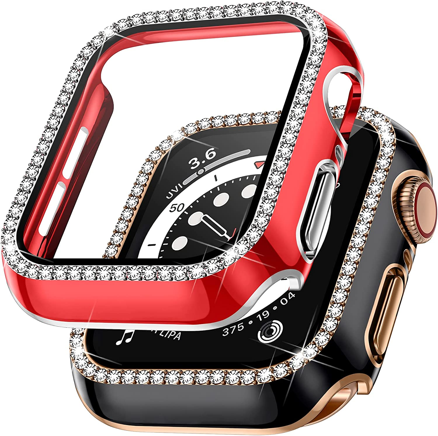 Charlam Compatible with Apple Watch Case 40mm SE iWatch Series 6 5 4 with Tempered Glass Screen Protector for Women Girls, Full Coverage Ultra-Thin Bling Diamond Frame Bumper Cover (Black/Red 40mm)