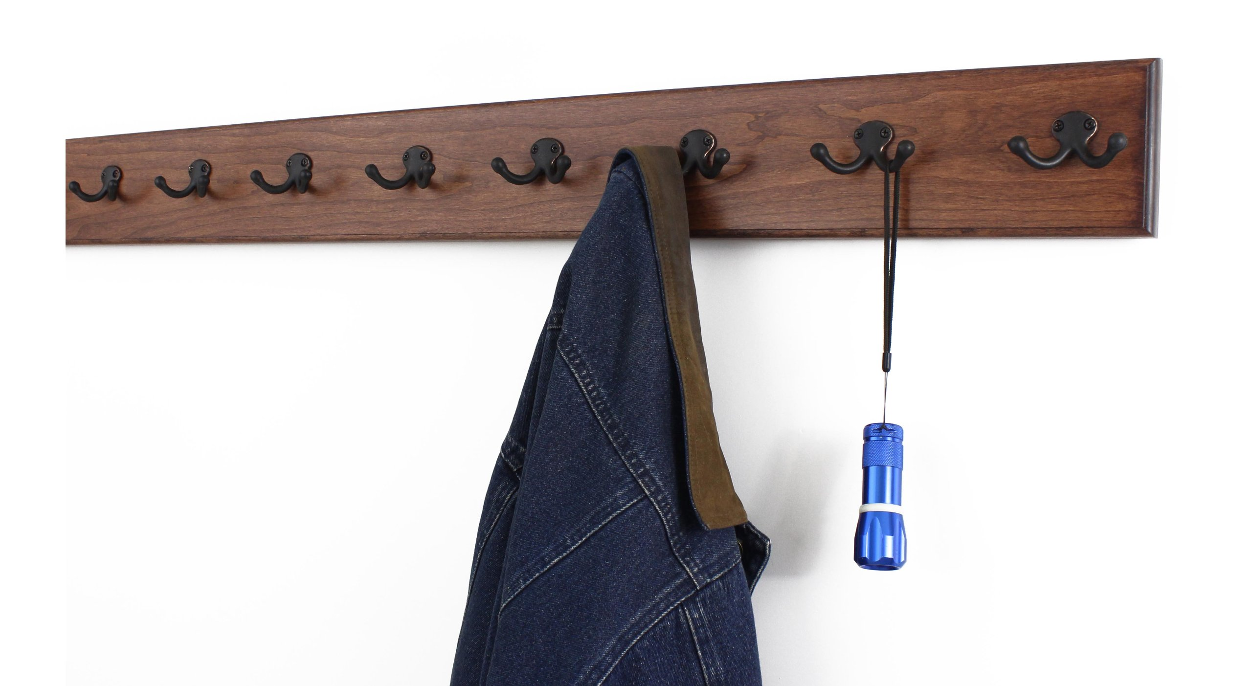 Solid Cherry Wall Mounted Coat Rack with Oil Rubbed Aged Bronze Coat Hooks - Double Style Wall Hooks - 4.5'' Utra Wide Rail – Made In the USA - (Mahogany Stain - 4.5'' x 41'' - 8 Hooks)