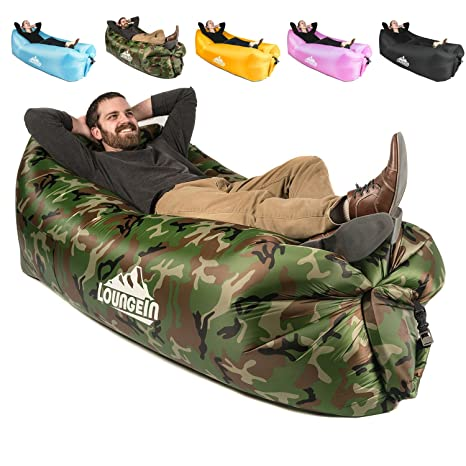 Inflatable Lounger Air Couch Chair Sofa Pouch | Lazy Hammock Blow Up Bag |  Lounge Outdoor