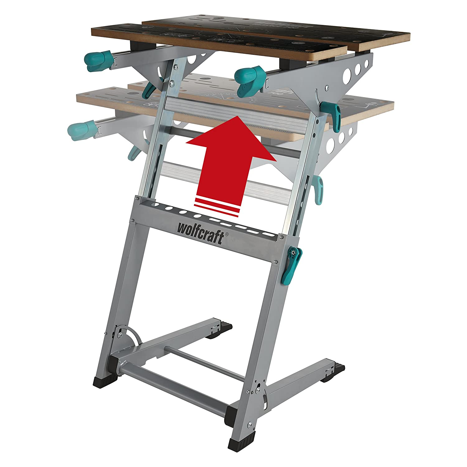 Wolfcraft 6908000 Master 700 Workbench, Foldable & Height Adjustable Clamping and Machine Table