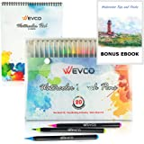 Watercolor Brush Pens - 20 Colors +1 Blending Pen With Included BONUS Watercolor Sketch Pad | Nylon Brush Tips | Included E-BOOK | Ideal For Art, Sketching, Manga, Comics, Calligraphy