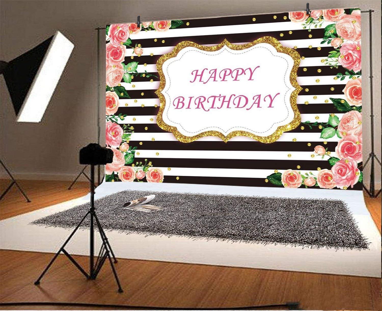 6x4ft Happy Birthday Background Black and White Stripes ...