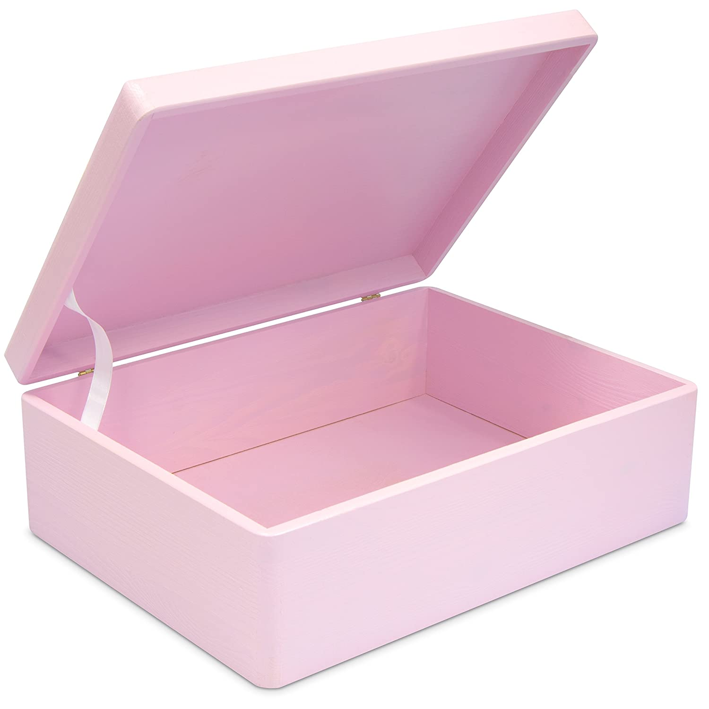 Grinscard Caja de Regalo de Madera para bebé de Tamaño Mediano para el Nacimiento de Las Niñas - Lacado Rosa Pálido - Aproximadamente 40 x 30 x 14 cm