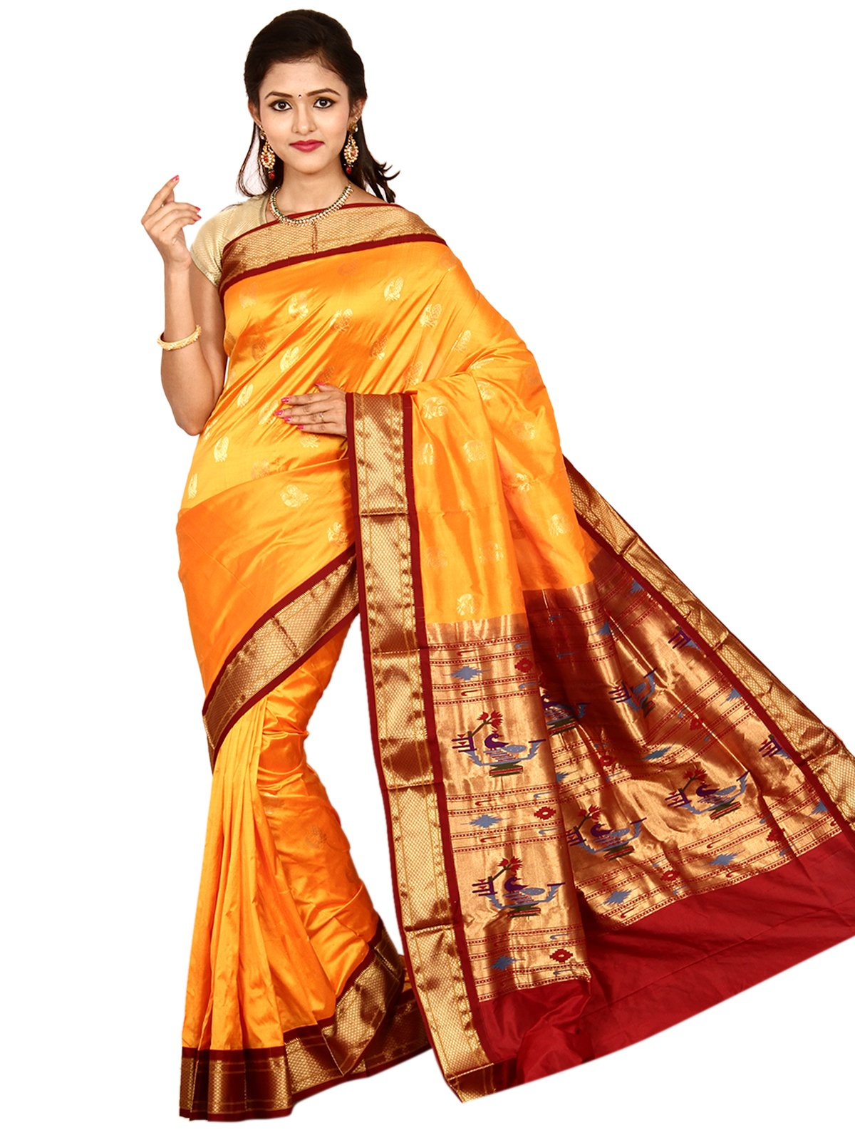 Indian Silks Peacock Design Paithani Handloom Pure Silk Saree, With Unstitched Blouse Piece (Maroon_Gold)