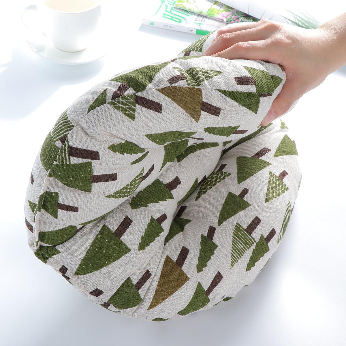 Tatami WINOMO Cuscino Rotondo da Pavimento Motivo Alberi Finestra per Yoga Home Office Pad in Cotone e Lino