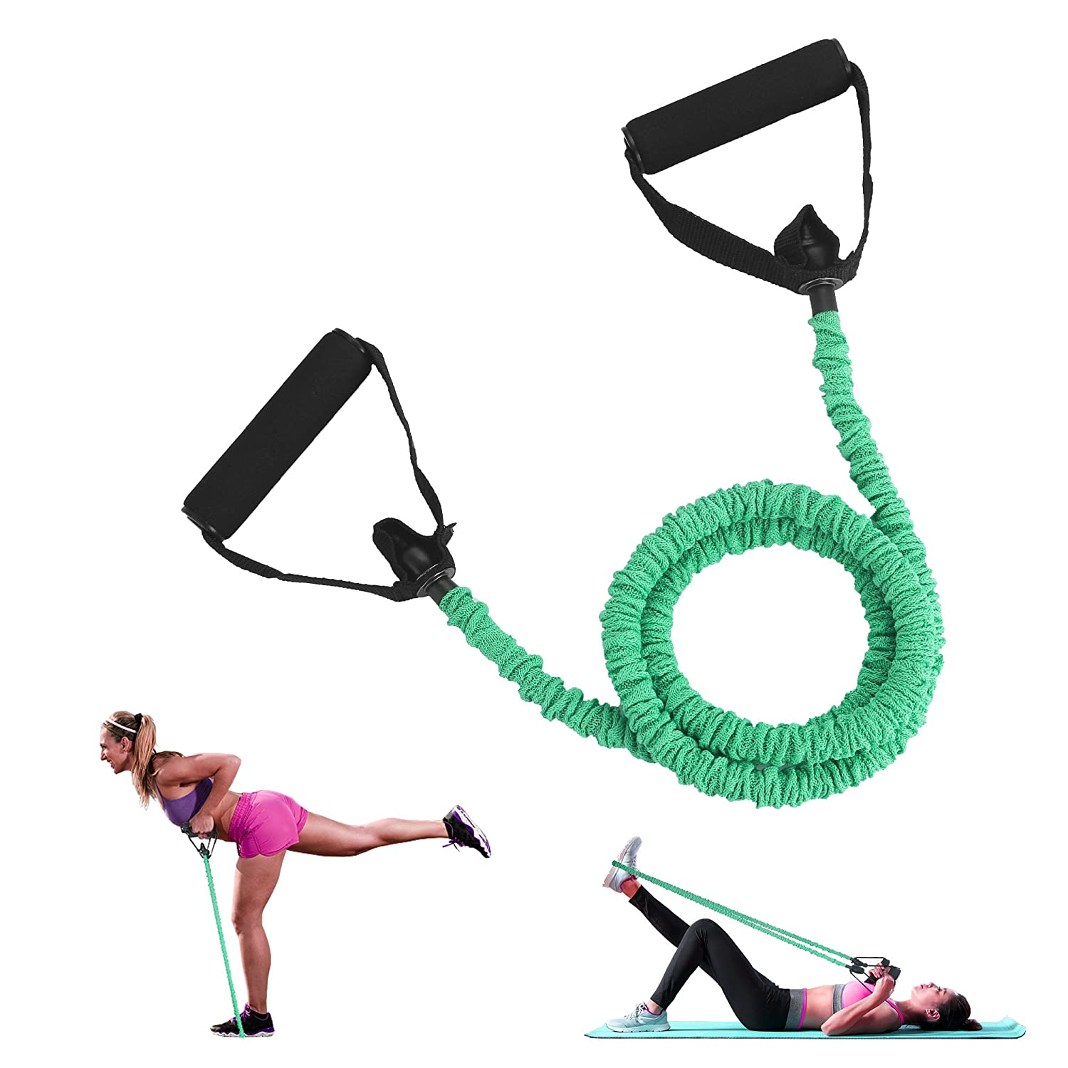 CMXING Resistance Exercise Bands with Handles 2018 New Version More safty Elastic Stretch Tubes Cords For Fitness Workout Training Home Use Men Women( 1pcs not 4)