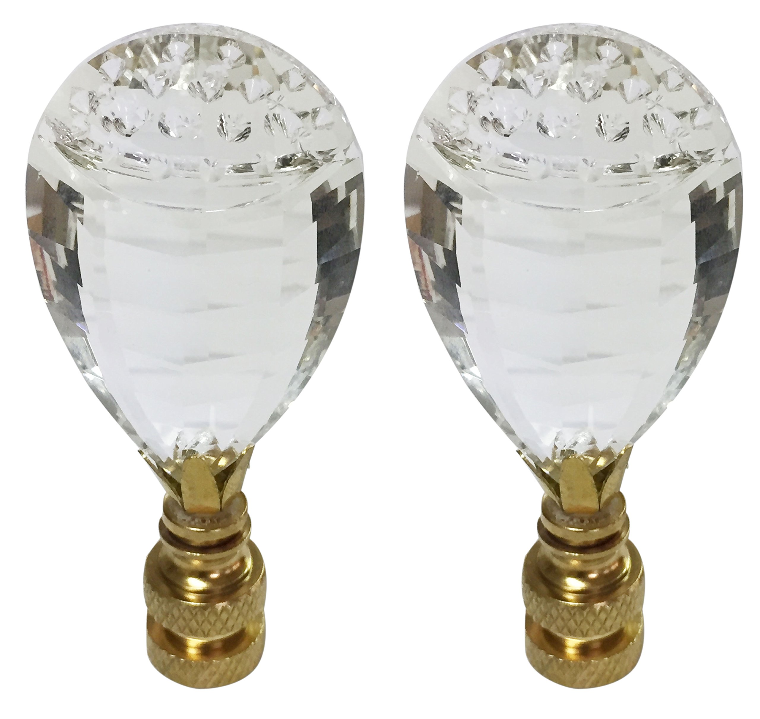 Royal Designs CCF2011-PB-2 Balloon Drop Clear K9 Crystal Finial for Lamp Shade with Polished Brass Base Set of 2, 2 Piece