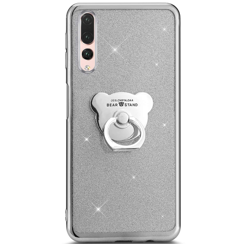 Felfy Kompatibel mit Huawei P20 Pro H/ülle,Kompatibel mit Huawei P20 Pro Handyh/ülle Glitzer Gl/änzend Ultrad/ünn TPU Silikon Schutzh/ülle Crystal Tasche Cover Case mit Ring St/änder,Schwarz