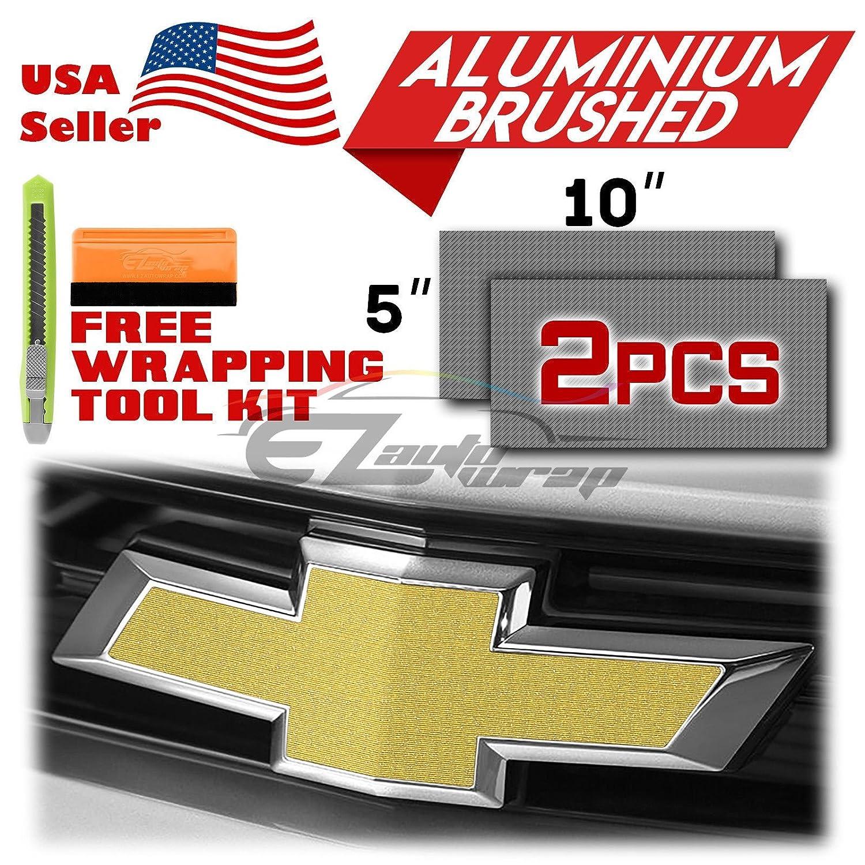 EZAUTOWRAP Free Tool Kit 2Pcs 5x10 Chevy Emblem Bowtie Chrome Gold Brushed Aluminum Vinyl Wrap Sticker Decal Film Overlay Sheet