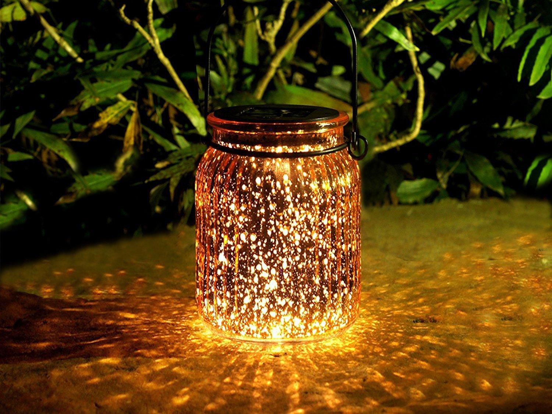 voona 2-Pack Solar Bronze Mercury Glass Jar Outdoor Lights for Hanging and Ground Use Pathway Table Garden Decorations Outdoor Decor (Bronze)