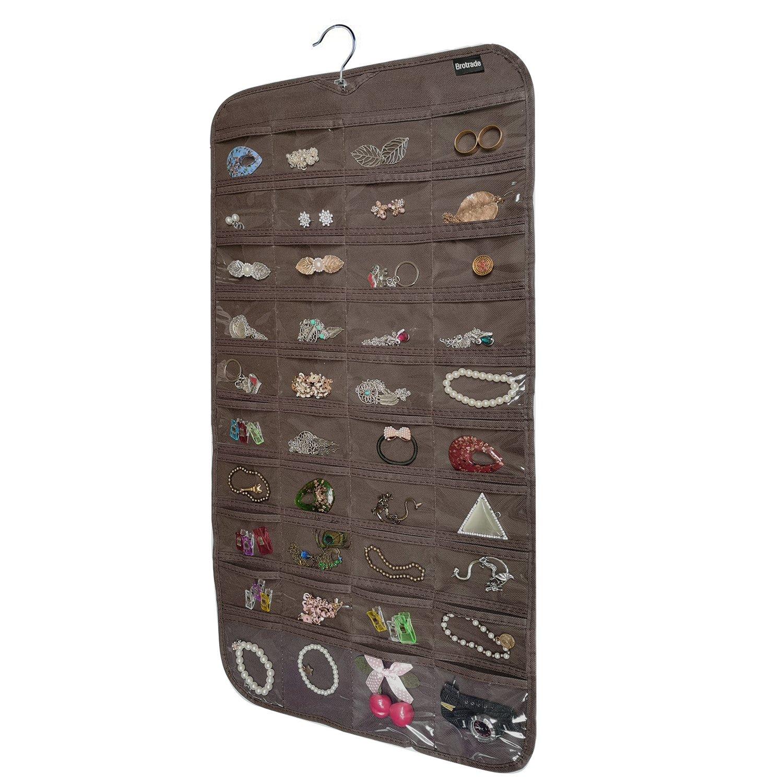 brotrade Hanging Jewelry Organizer,80 Pocket Organizer for Holding Jewelries(Dark Brown)