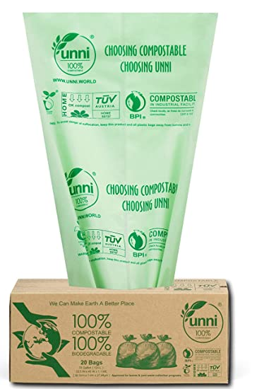 Amazon.com: UNNI - Bolsas 100% compostables, 30 – 33 litros ...