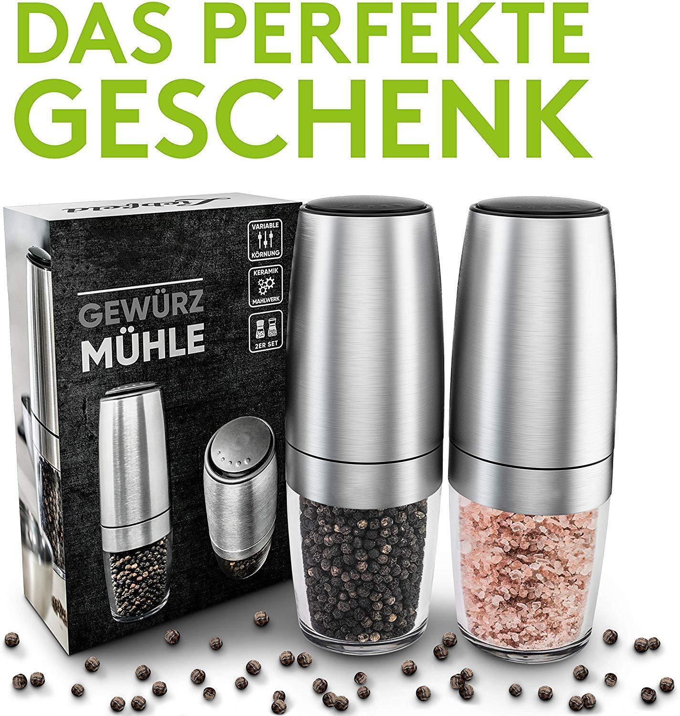 2er Set Salz und Pfeffer M/ühle elektrisch mit Keramikmahlwerk I Elektrische Pfefferm/ühle und Salzm/ühle I Gew/ürzm/ühle Salt and Pepper Mill KDSSTTR