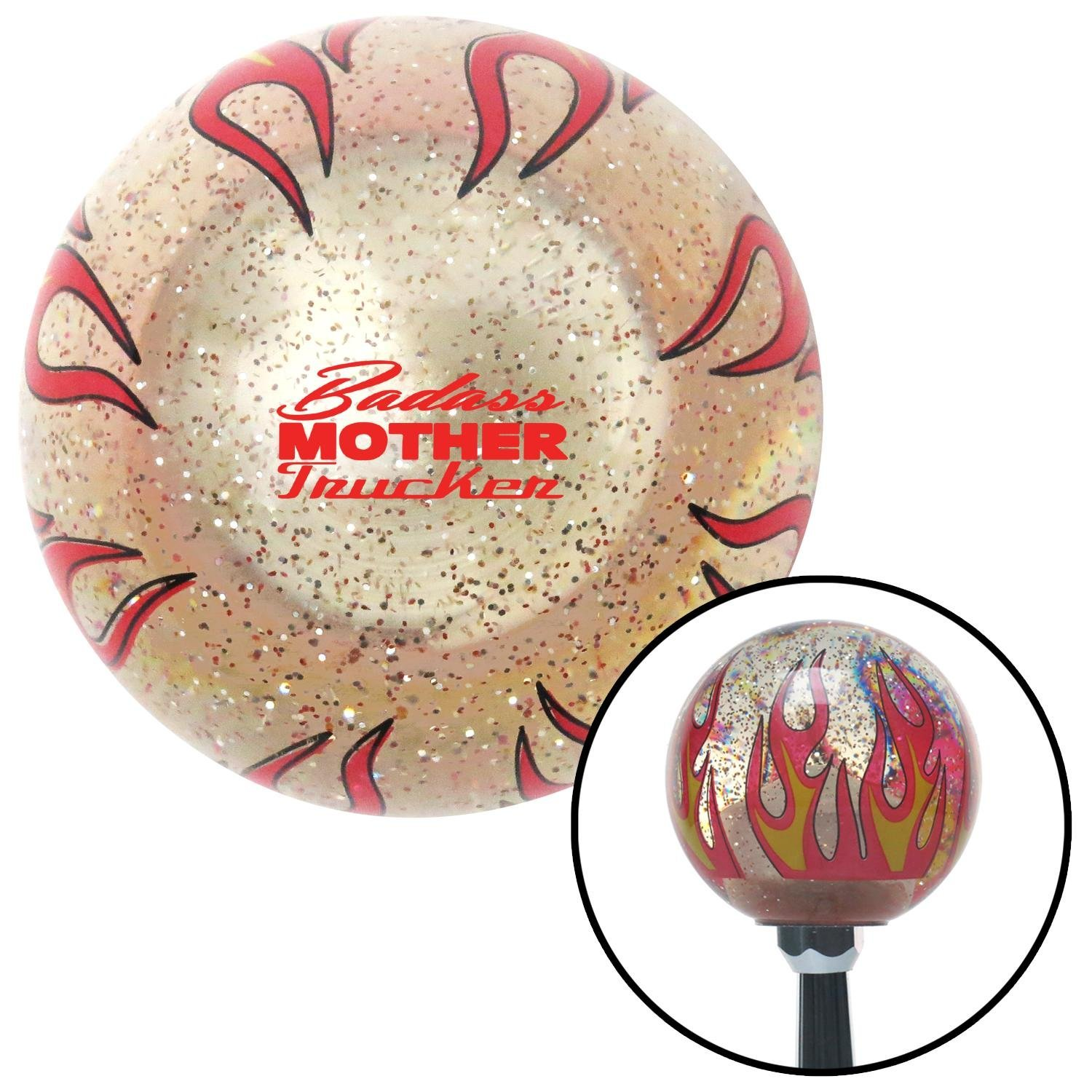 Red Badass Mother Trucker Clear Flame Metal Flake with M16 x 1.5 Insert American Shifter 296145 Shift Knob