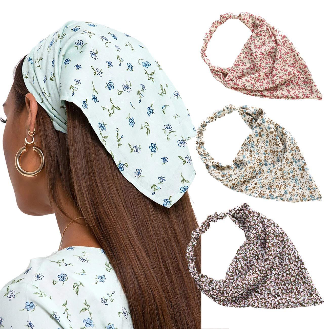 Amazon.com : Floral Elastic Hair Scarf Headband - 3 PCS Chiffon Head  Kerchief Headband Print Floral Hair Scarves with Hair Clips Kerchief Head  Scarf Hair Bandanas for Women (Pink/Beige/Red) : Beauty
