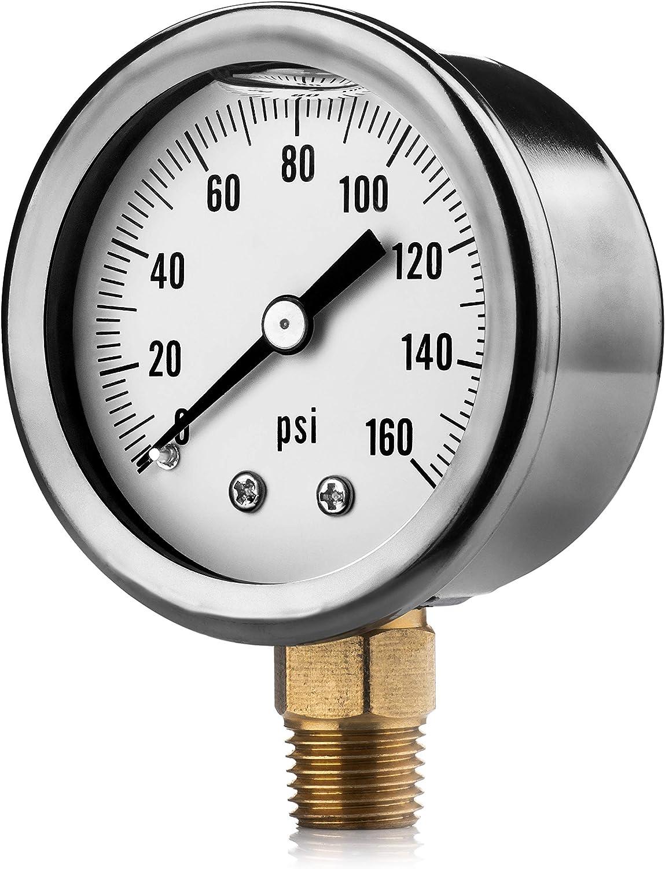 "Renator M11-0504T Oil-Filled Water Pressure Gauge. 0-160 PSI. 1/4"" NPT."