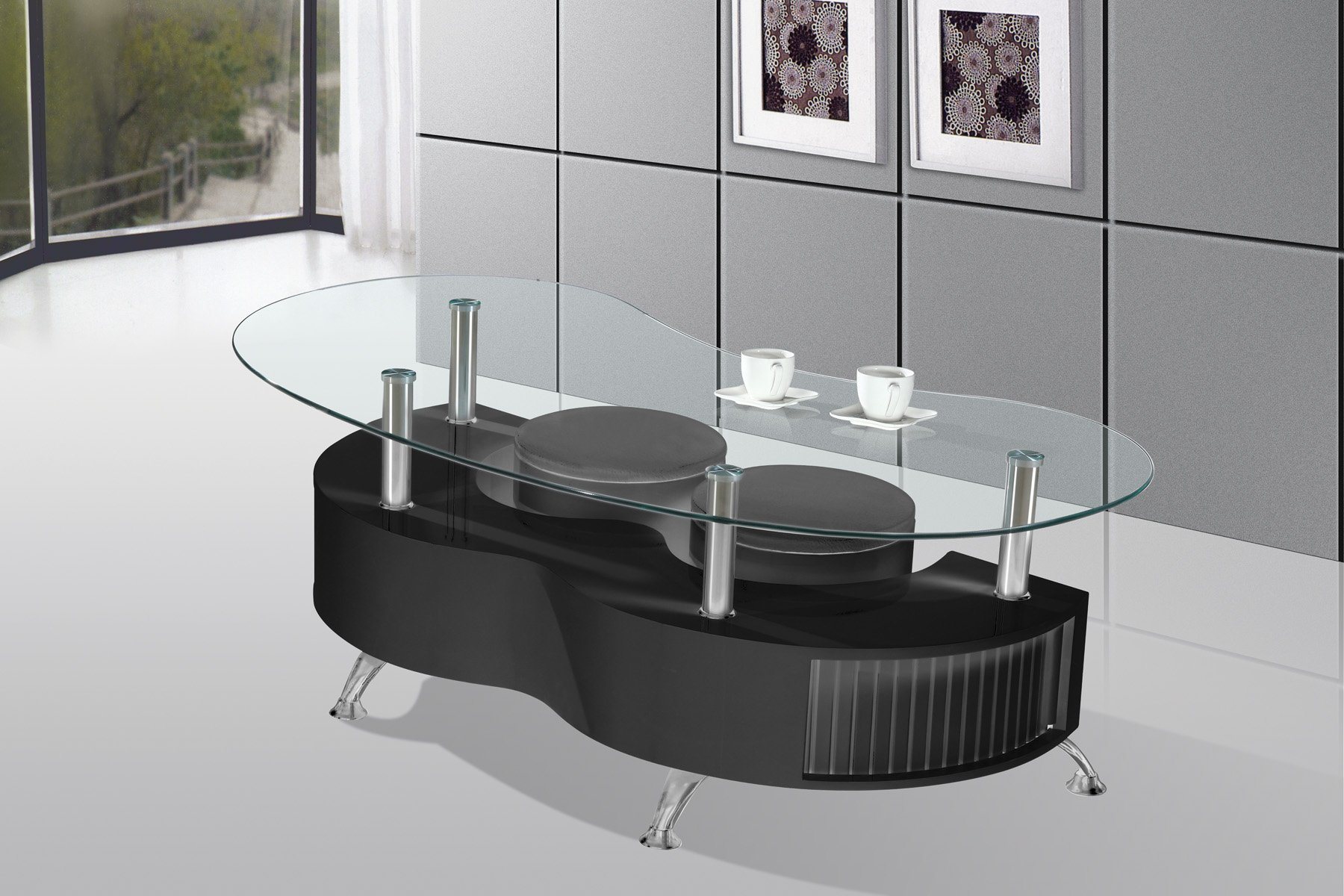 Best Quality Furniture CT21 Mordern Glass Black Coffee Table W/Two Stools by Best Quality
