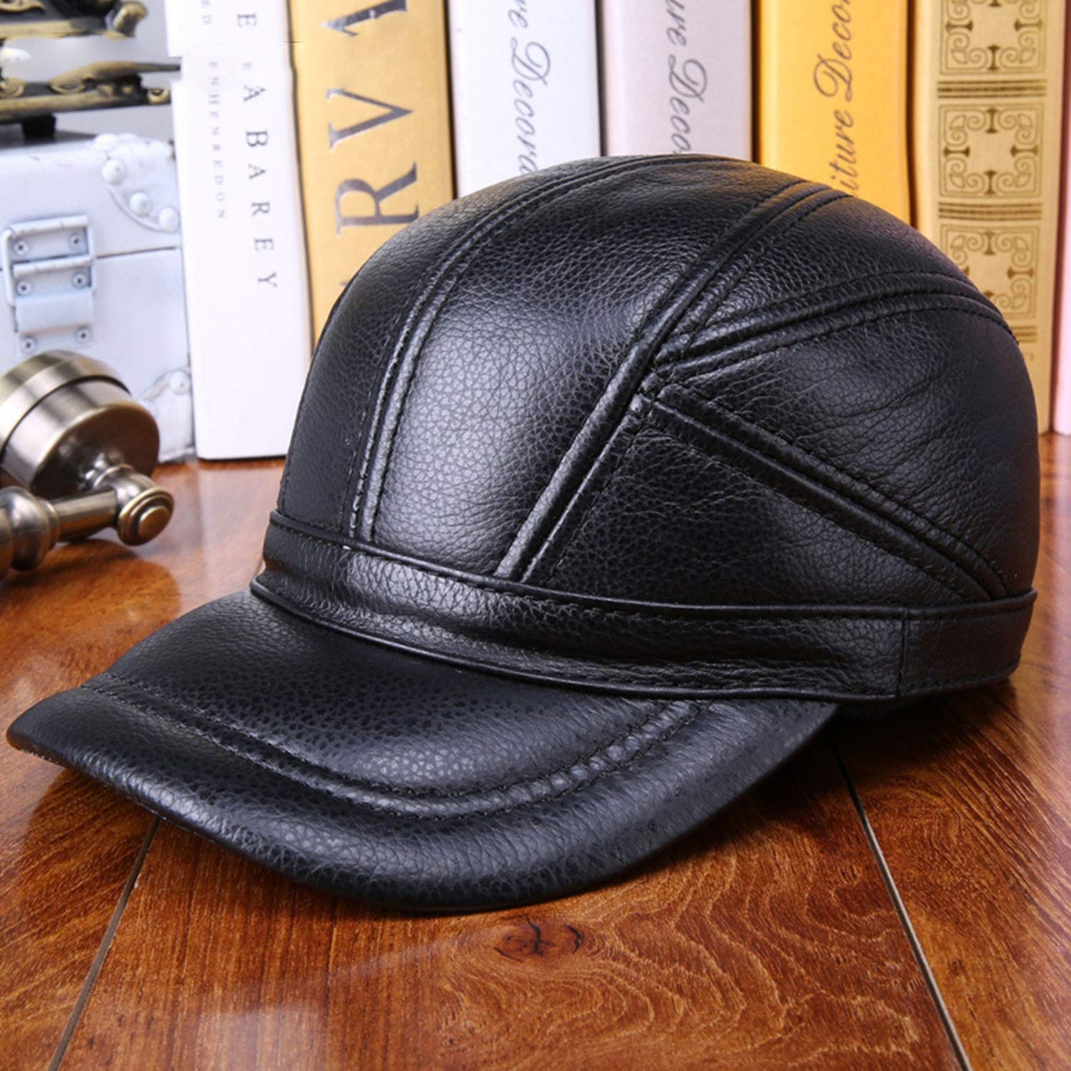 Zipok Real Leather Hat Baseball Caps Men Brown Adjustable Caps with Earflaps Dad Hat Male Winter Warm Baseball Hat