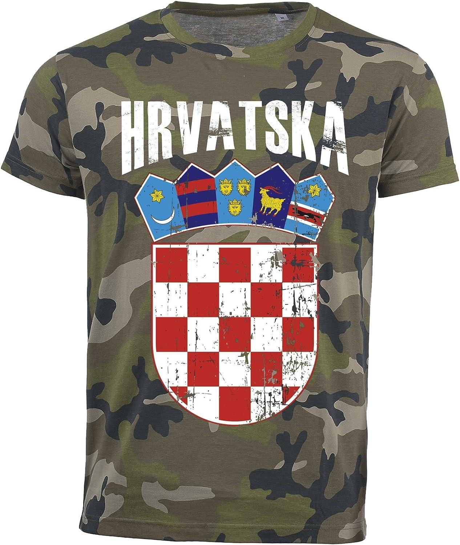 Albanien T-Shirt Camouflage Army WM 2018 . Vintage Destroy Wappen D01