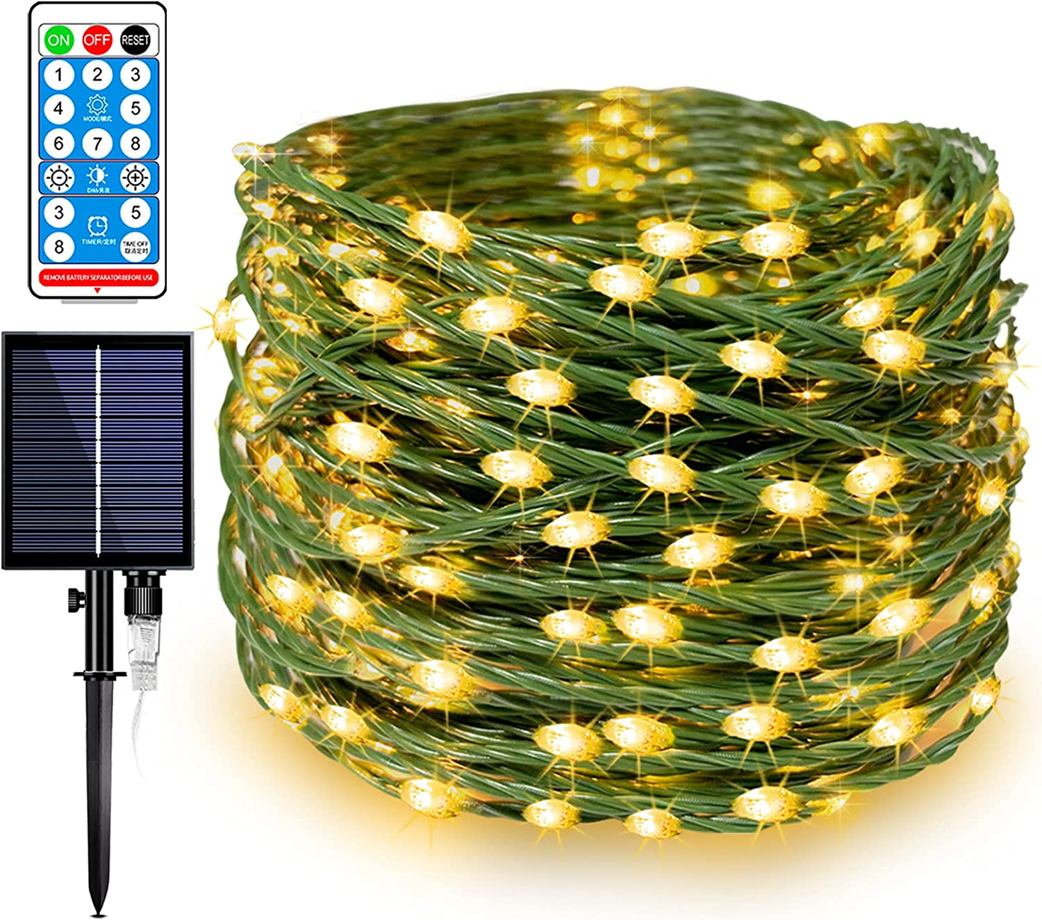 Solar Fairy String Lights 300 LED 108 Feet, Upgraded Outdoor IP65 Waterproof Stronger & Thicker Wire 1200mAH Solar Power Twinkle Lights w/ 8 Modes & Remote for Patio, Garden, Backyard Decor Warm White