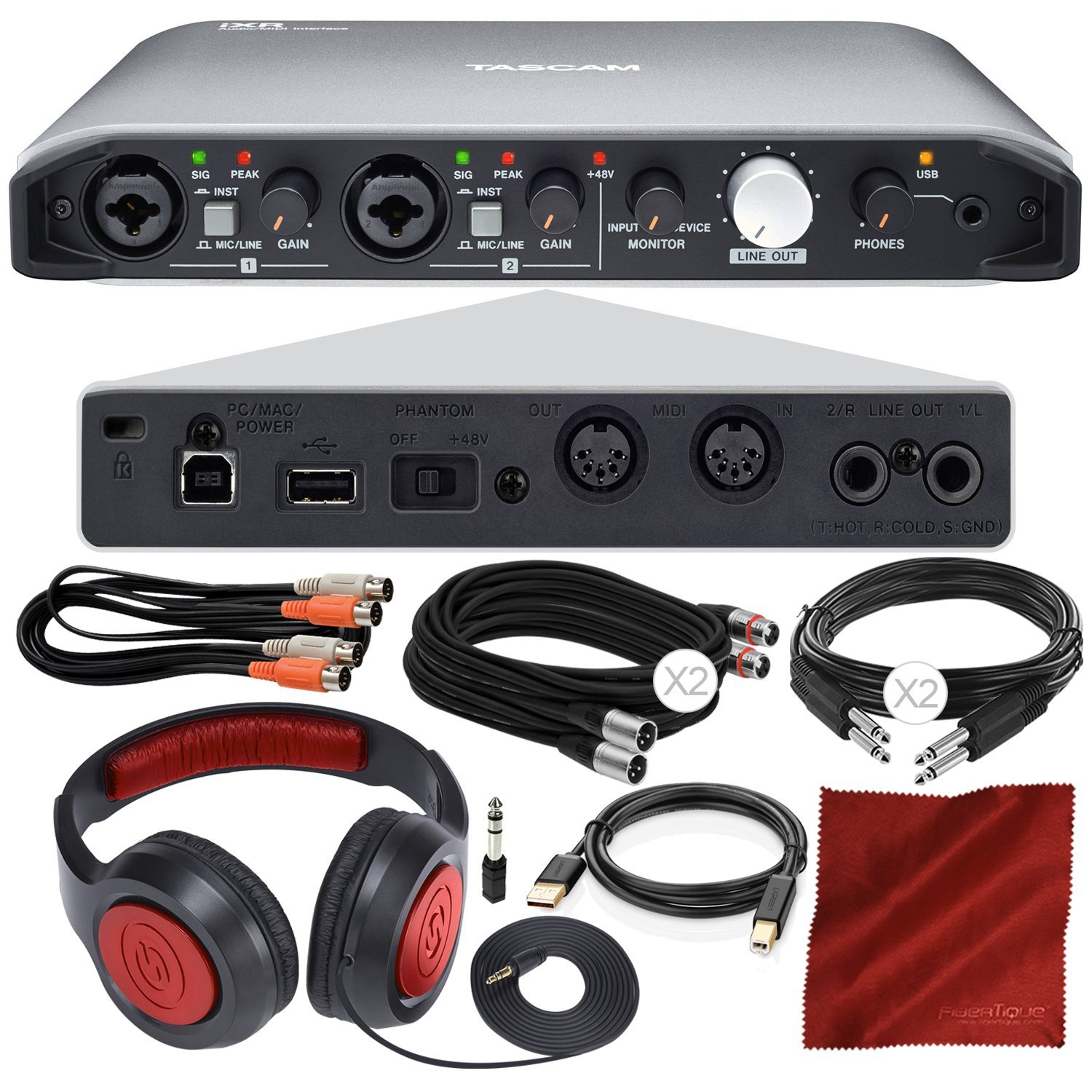 Tascam iXR USB Audio Recording Interface for iPad MacOS And Windows with Samson Stereo Headphones, Dual MIDI Cable, Deluxe Bundle