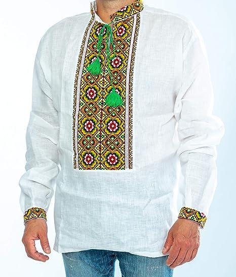 Camisa de lino para hombre Vyshyvanka de Ucrania, bordada, color blanco, amarillo, verde, para boda S: Amazon.es: Juguetes y juegos