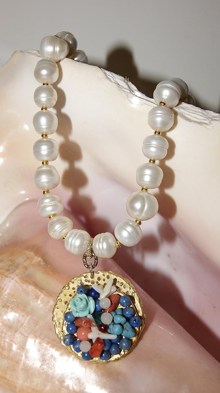 in vendita ac414 d3631 collana girocollo in pietre dure e perle fatte a mano ...