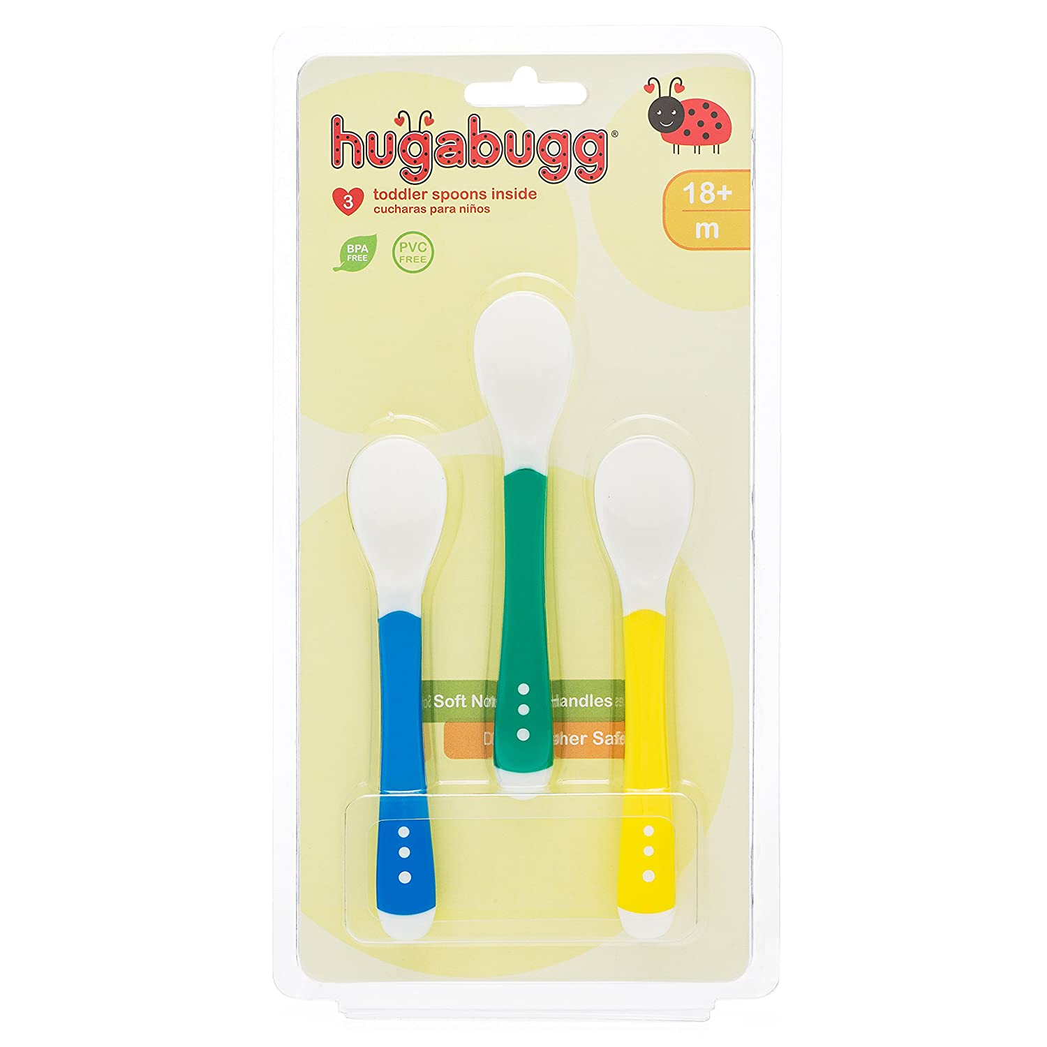 3 pack Ideas to Lights 0638302307543 Hugabugg Toddler Spoons