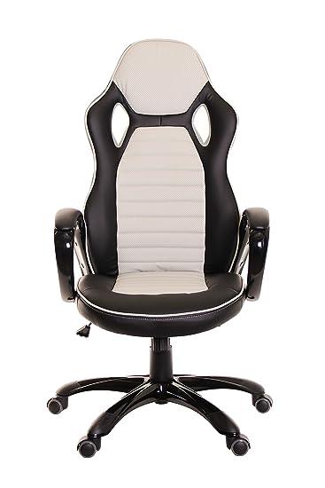TimeOffice Ergonomic PU Leather High Back Bucket Seat   Grey/Black    Comfort Executive