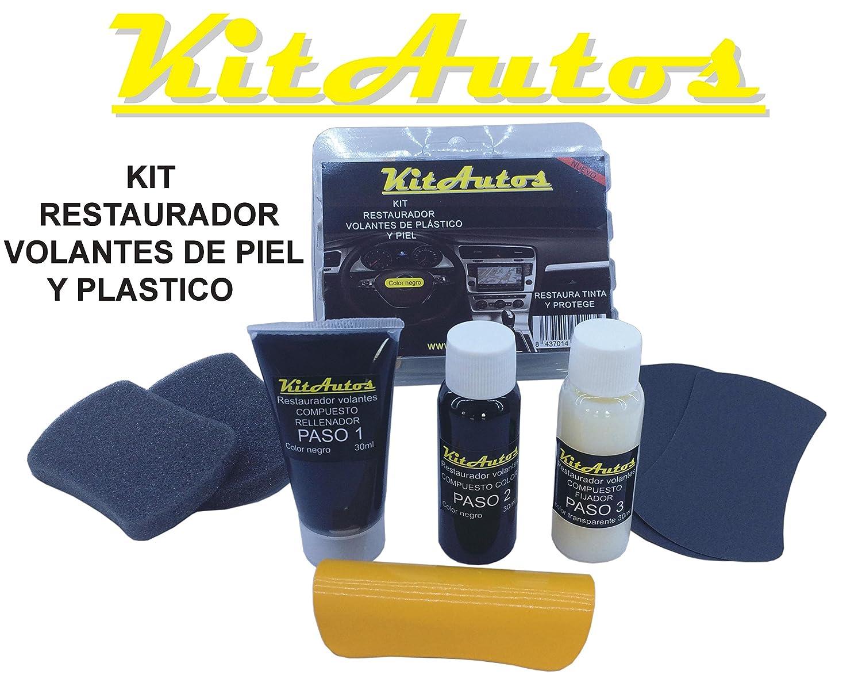 Kit restaurador volantes de piel y plastico COLOR NEGRO.: Amazon.es: Coche y moto