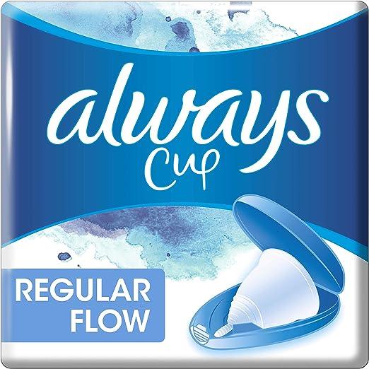 Always Copa menstrual para menstruación mediana, ajuste cómodo, protección día y noche, 100% silicona médica, fácil de limpiar, reutilizable y ...