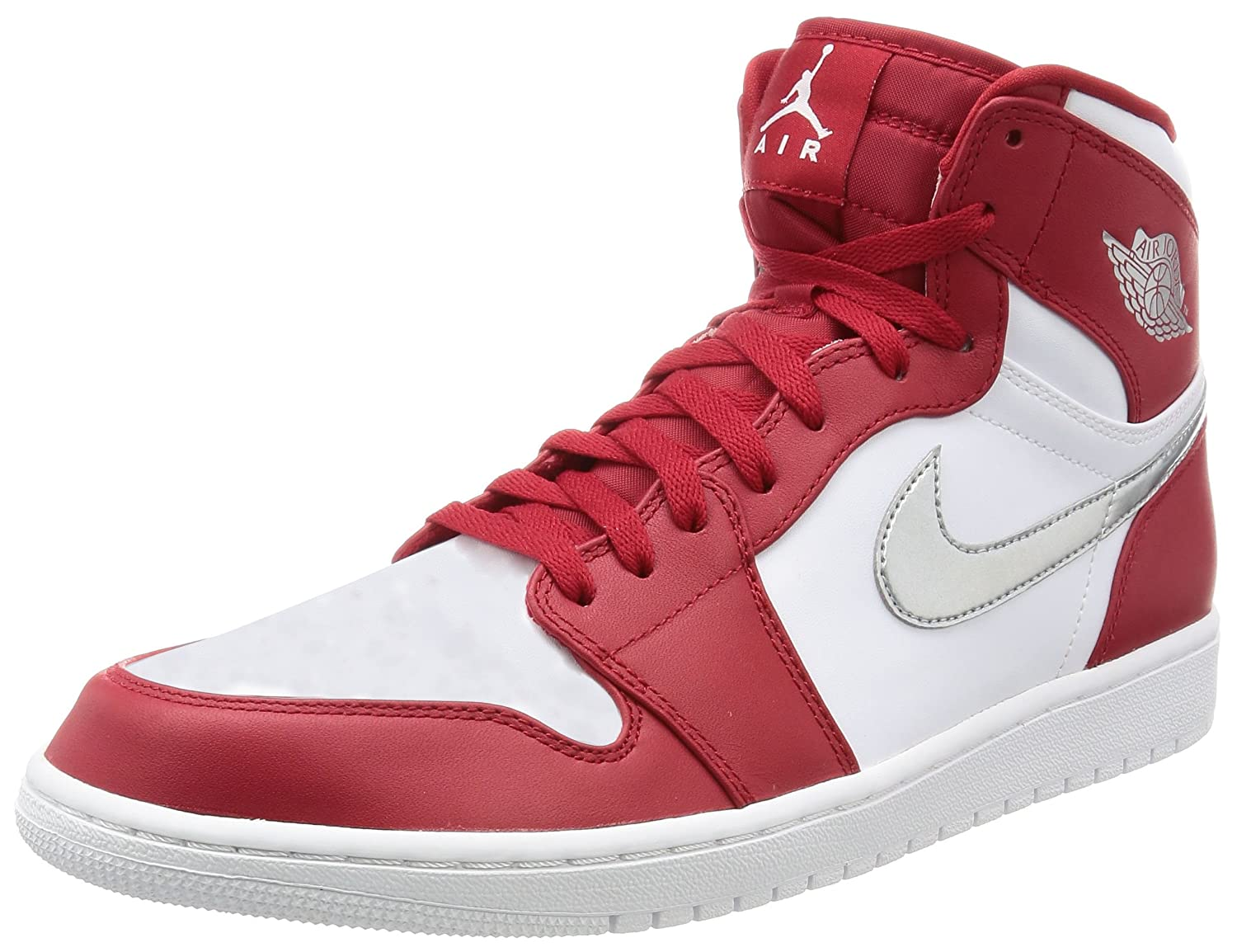 separation shoes dff9e 5b04d Amazon.com   Nike AIR JORDAN 1 RETRO HIGH mens basketball-shoes 332550-602 12  - GYM RED METALLIC SILVER-WHITE   Basketball