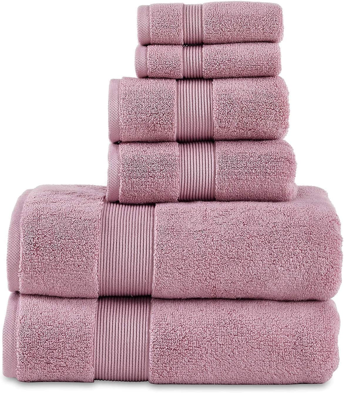 703 Gsm 6 Piece Towels Set 100 Cotton Zero Twist Premium Hotel Spa Quality Highly Absorbent 2 Bath Towels 30 X 54 2 Hand Towel 16 X 28 And 2 Wash Cloth 12 X 12 Mauve Color Kitchen Dining